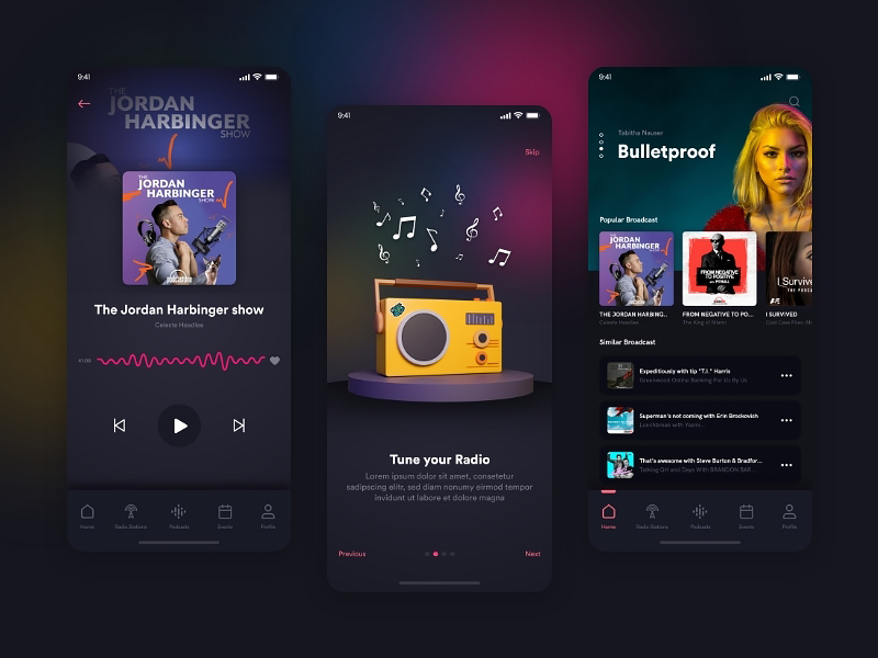 Podcast App Free UI Kit for Adobe XD