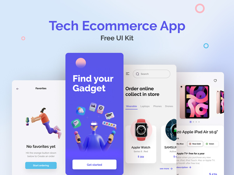 Tech E-commerce App Free UI Kit for Figma