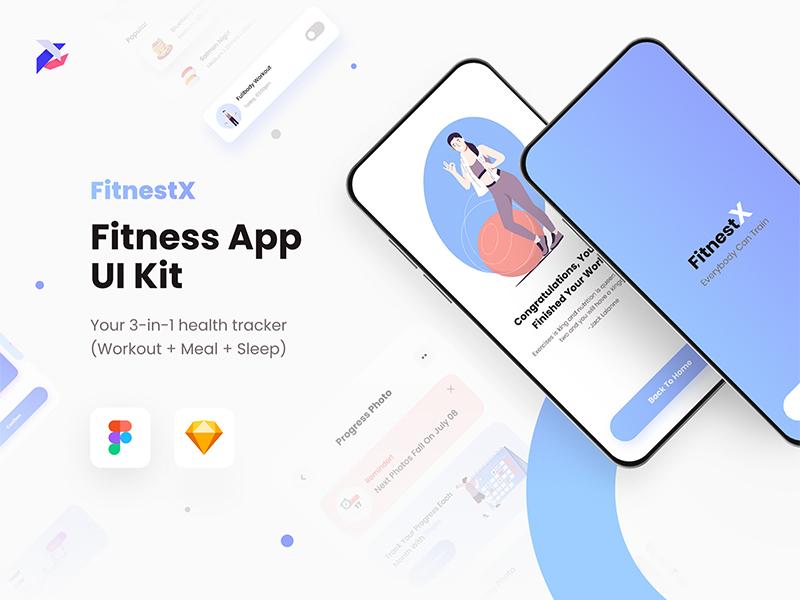 FitnestX — Free Fitness App UI Kit