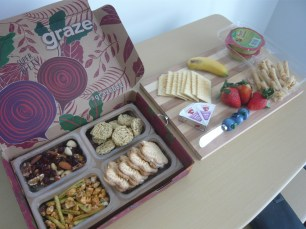 Got your nuts and dried fruits, crackers and cheese, guac and tostitos sticks, and other Graze box goodies