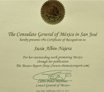 Certificate of Recognition from Mexican Consulate San Jose, CA