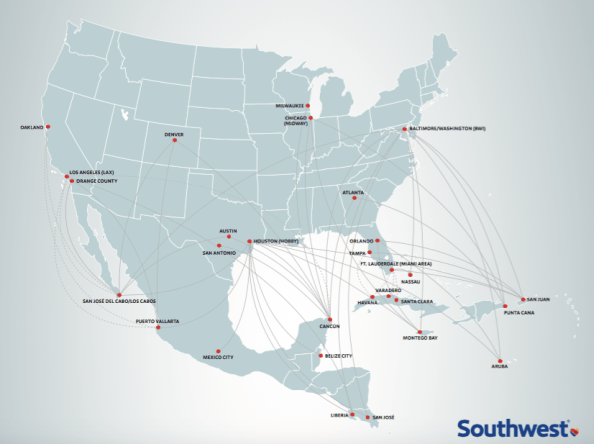 Southwest Airlines map