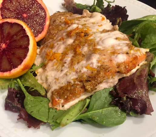 Blood orange almond salmon with salad