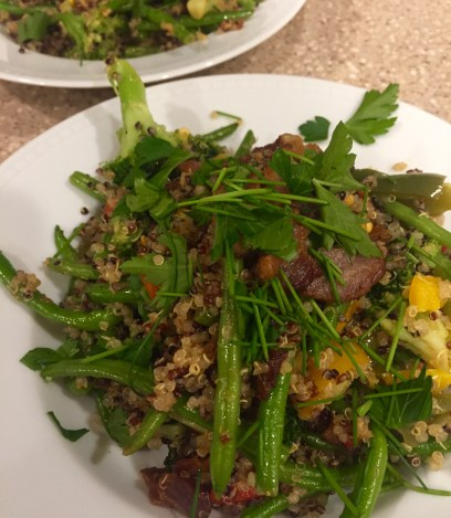 two bowls bacon fried quinoa