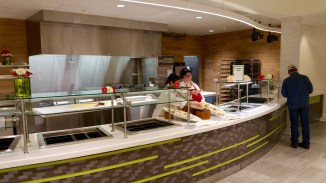 When you first walk-through the entrance, Comfort Thyme is to your left, offering sandwiches, wraps and other comfort food. This station will offer breakfast in the morning.