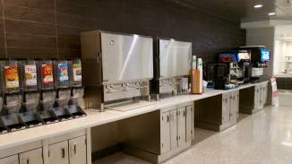 "Cereal, milk, coffee and other drinks are along the opposite wall. Martin Dining Hall is an ""all-you-can-eat"" buffet-style dining location."