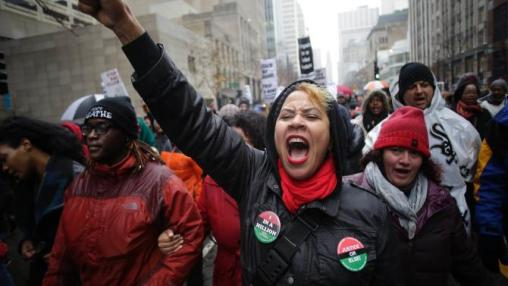 Black Friday Demonstrators-protest-the-shooting-of-laquan-mcdonald Chicago - 11-28-15