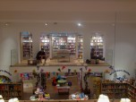 Cris and Andrew reading at Foyle's Books, a 6 story bookstore in London