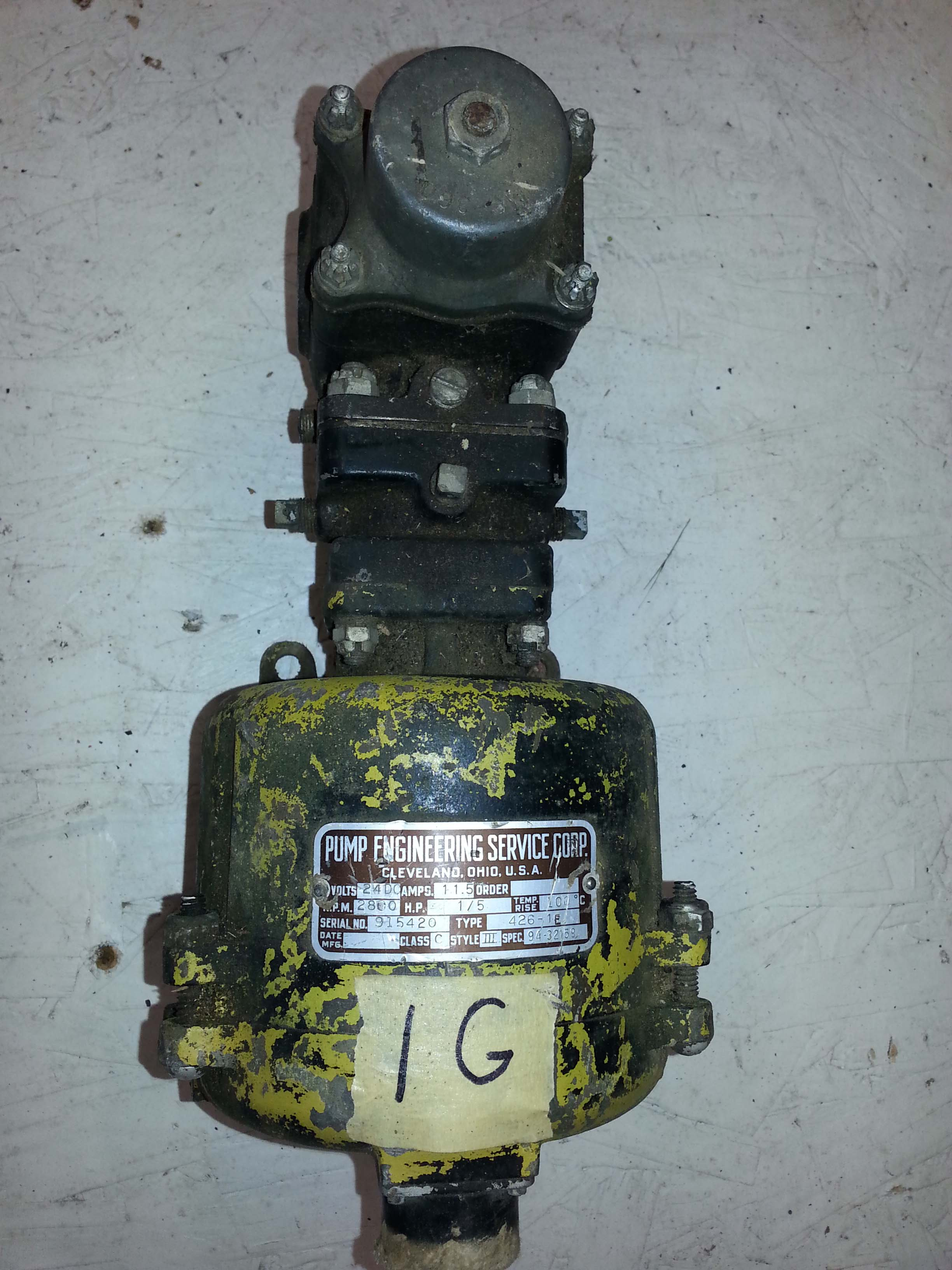 Fuel Pump Motor Engineering Service Corp 1 5 Hp The Specification 1g