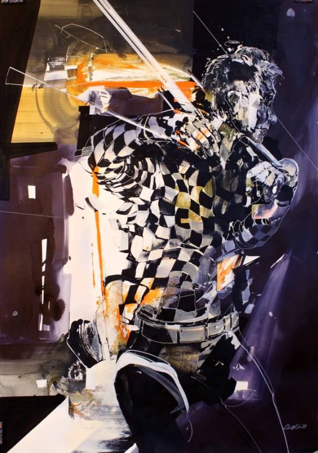 "Robert Proch Walking Para Mixed Media on Paper, 29.5x41.5"" 2013"
