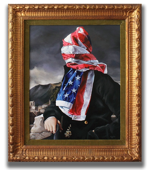 Portrait of The American Gentleman 2010 acrylic on panel with found frame 26.75 x 22.75 in (68 x 58 cm)