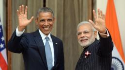 Indian Prime Minister Narendra Modi (R) and US President Barack Obama wave prior to a meeting in New Delhi on January 25, 2015. US President Barack Obama held talks January 25 with Prime Minister Narendra Modi at the start of a three-day India visit aimed at consolidating increasingly close ties between the world's two largest democracies. AFP PHOTO/ PRAKASH SINGH (Photo credit should read PRAKASH SINGH/AFP/Getty Images)