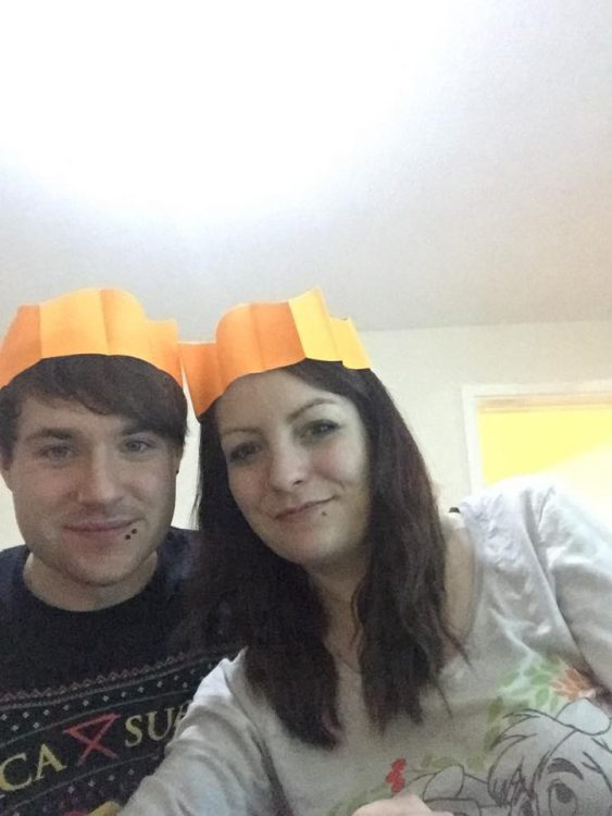 woman and her husband on christmas