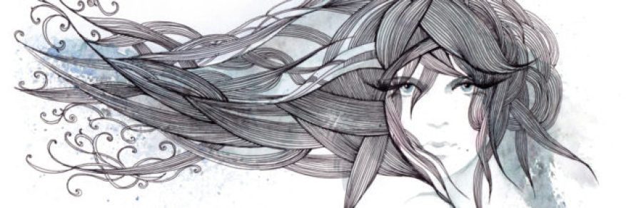 beautiful graphic hair in the wind (Cbm painting)