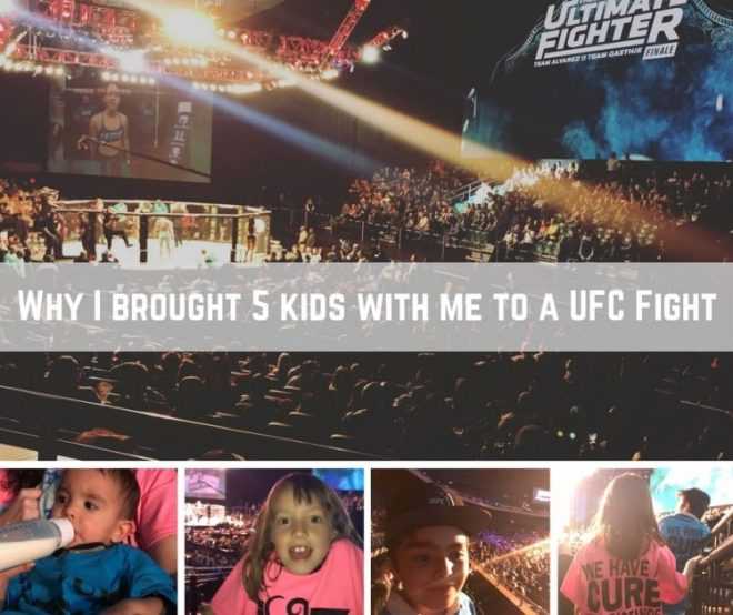 collage of photos of kids at a UFC fight