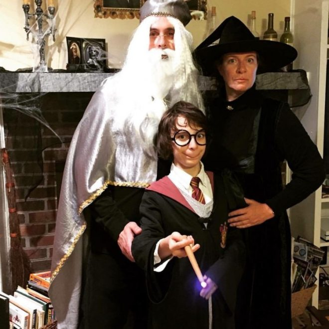 George dressed as Harry Potter, with dad dressed as Dumberldore and mom dressed as McGonagal