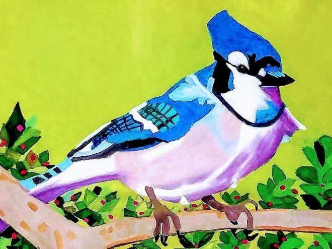 Bluebird painting by Megan Hawk