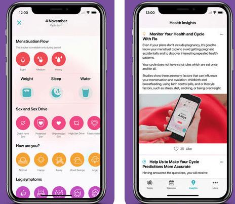 screenshots from flo app