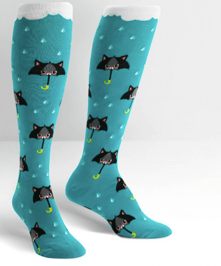 sock it to me socks turquoise with cats