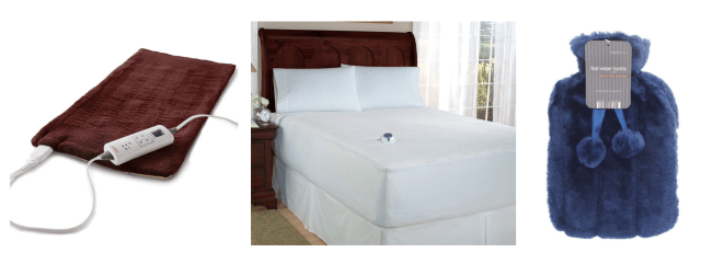 heating pad, heated mattress cover and hot water bottle
