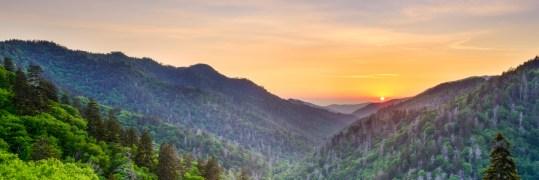A green valley during sundown