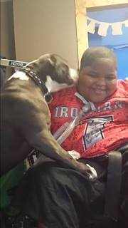 Xzavier Davis-Bilbo and his dog