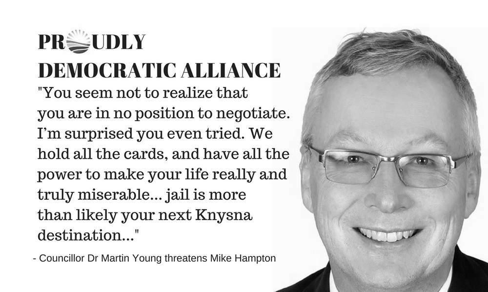 Democratic Alliance criminal threats - Dr Martin Young