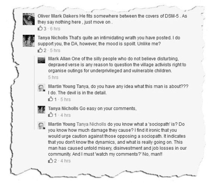 Martin Young FB MY 2b comments1 Dr Dakers DSM MY sociopath
