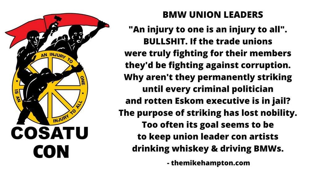 BMW UNION leaders cosatu con corruption