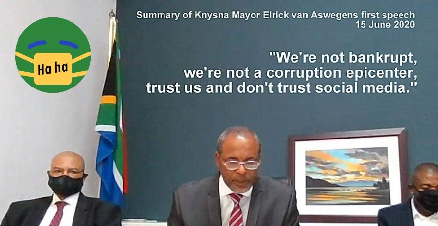 Summary of Knysna Mayor Elrick van Aswegens first speech 15 June 2020