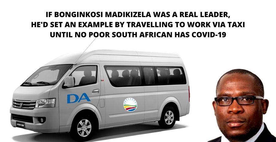 DA Western Cape Leader Bonginkosi Madikizela should travel to work via taxi