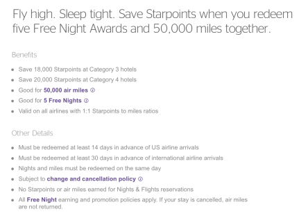 starwood preferred guest starpoints Nights & Flights