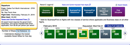 American Airlines AAdvantage award ticket availability