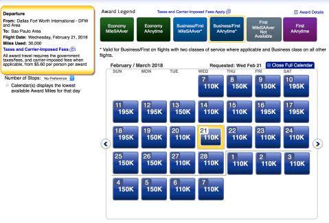 American Airlines AAdvantage award ticket, aa business class award ticket