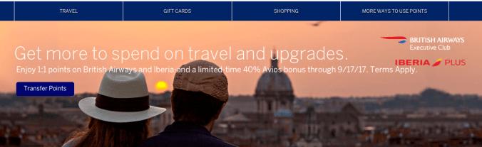 American Express Membership Rewards 40% bonus British Airways and Iberia