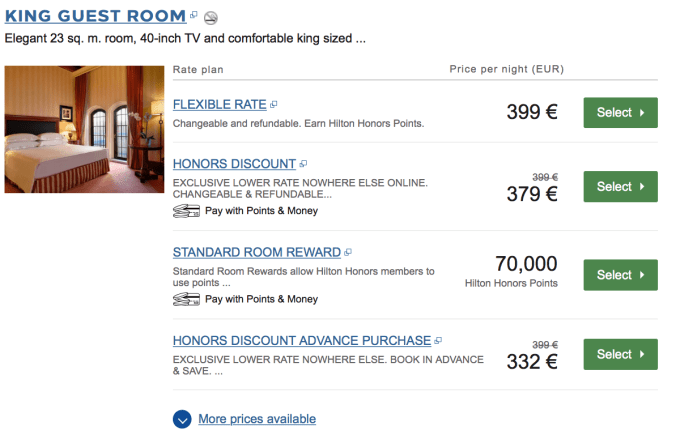 venice on hilton honors points