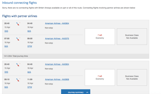 booking American Airlines with British airways avios