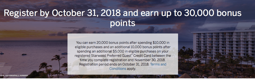 Starwood Amex Fall 2018 spending promo