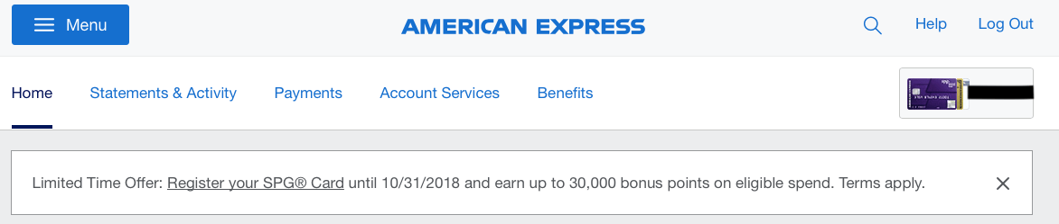 SPG amex spending promo fall 2018