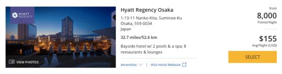 Hyatt in Japan, World of Hyatt points in Osaka