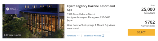 Hyatt in Japan, World of Hyatt points in Hakone