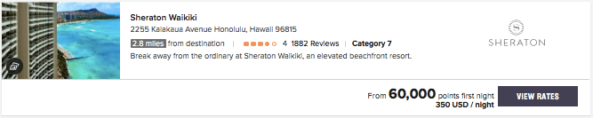 Sheraton Waikiki Marriott Bonvoy points