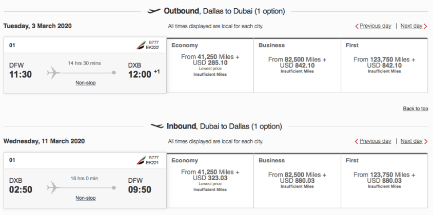 emirates business class award tickets, upgrade with emirates miles, us to Dubai on emirates