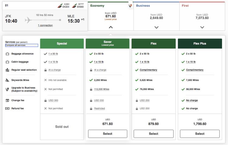 Maldives on emirates, emirates business class award tickets, upgrade with emirates miles, emirates routes to Maldives