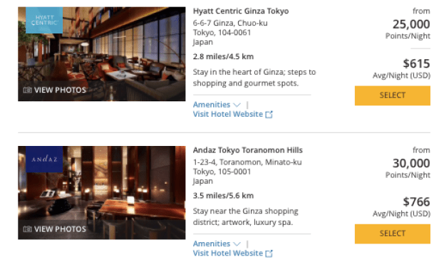 Hyatt in Japan, World of Hyatt points in Tokyo, How to redeem chase ultimate rewards for Japan