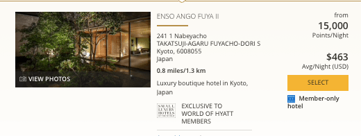 Hyatt in Japan, World of Hyatt points in Kyoto