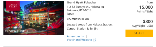 Hyatt in Japan, World of Hyatt points