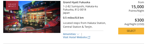 Hyatt in Japan, World of Hyatt points