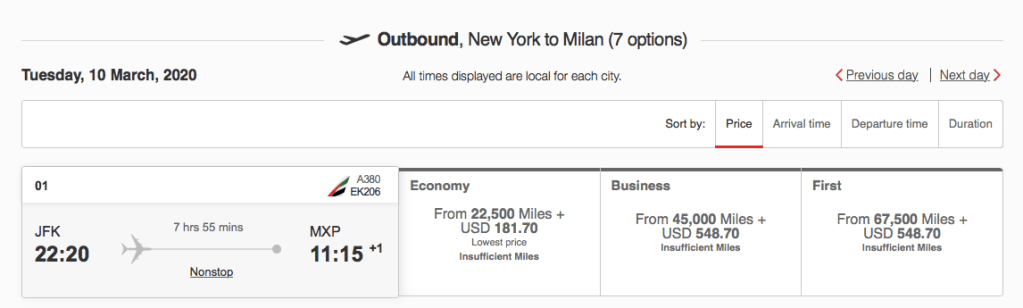 How to redeem Chase Ultimate Rewards points for Emirates flights to Europe