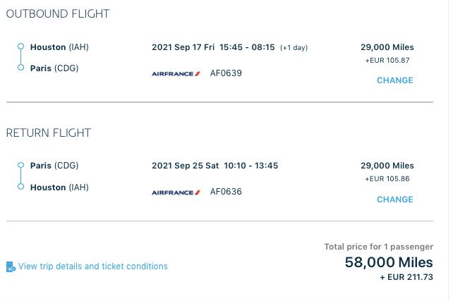 europe flights with membership rewards